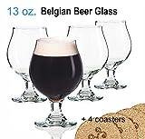 beer belgian glasses - Libbey Beer Glass Belgian Style Stemmed Tulip - 13 oz Lambic Beer Glasses - set of 4 w/coasters