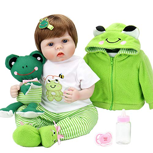 Aori Lifelike Reborn Baby Doll with Soft Body Realistic Vinyl 22 Inch Toy Doll with Travel Frog Set