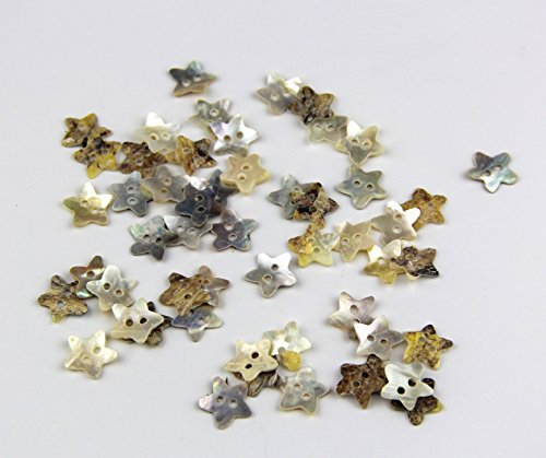 [50Pc Star Pattern Coconut Shell Buttons 2 Hole Scrapbooking Sewing Buttons 12Mm^.] (Stock Coconut Shell Necklaces)