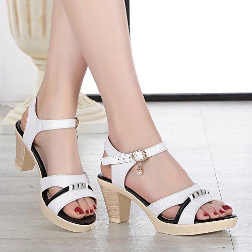 Con Zapatos SHOESHAOGE Gruesas EU34 Madre Eu36 Elegante Zapato Mi Heeled Es Sandalias Una Con High UrUqw84Px