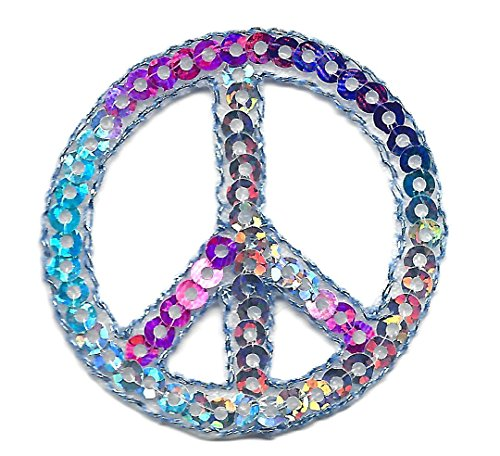 PINZ- Peace Sign Multi-Color Sequins Patriotic Iron On - Sign Peace Sequin