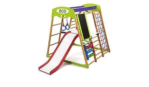 Centro de actividades con tobogán ˝Karapuz-Plus-3˝, red de escalada, anillos, escalera sueco, campo de juego infantil: Amazon.es: Bebé