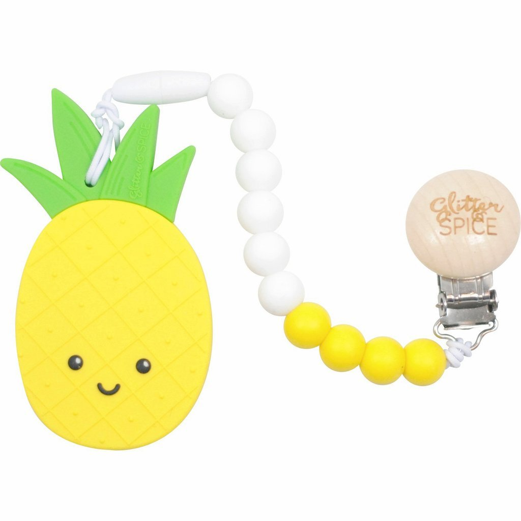 Non-Toxic BPA Free Silicone Pineapple Teether with Silicone Beads and Clip