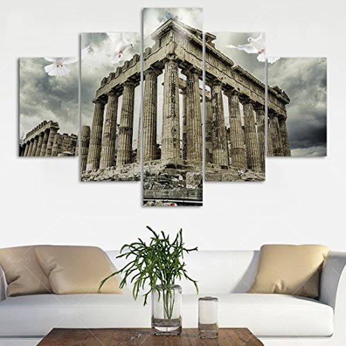 Wall Decor 5 Panel Canvas Modern Painting Parthenon Temple on the Acropolis of Athens,Greece Artwork Wall Art Home Decoration for Living Room Pictures HD Printed Framed Ready to hang(60''Wx40''H) (Painting Art Temple Wall)