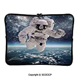 SCOCICI Laptop Bag Outer Space Theme Astronaut in Milkyway Print Galaxy Stardust Earth Laptop Sleeve Bag Water-Resistant Protective Case Bag Compatible with Any Notebook 15 inch/15.6 inch
