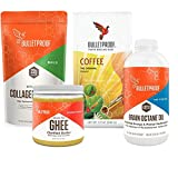 Bulletproof Exclusive Kit- Upgraded Collagen Protein, Grass-Fed Ghee, Brain Octane Oil (16 Ounce), Original Ground Coffee + Bonus UBEN Refillable Plastic Container & Bonus 1 oz Plastic Measuring Cups