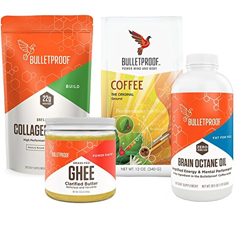 Bulletproof Exclusive Kit- Upgraded Collagen Protein, Grass-Fed Ghee, Brain Octane Oil (16 Ounce), Original Ground Coffee + Bonus UBEN Refillable Plastic Container & Bonus 1 oz Plastic Measuring Cups by Bulletproof