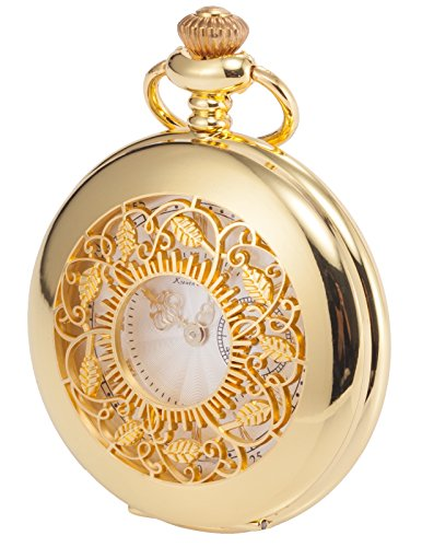 Gold Hunters Case Pocket Watch (KS Half Hunter Series Men's Analog Quartz Gold Steel Case Pocket Watch + Chain)