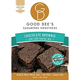 Good Dee's Brownie Mix – Low carb, Keto Brownies, Sugar free, Gluten free, Grain Free, Nut free, Atkins friendly, Diabetic friendly, WW Friendly, 1g net carbs , 12 servings 6 NEW and Improved formula! Now IMO free! Made with sunflower seed flour. Always maltitol free. Sweetened with erythritol and stevia. LOW CARB & NUT FREE: Good Dee's Brownie Mix is 1g net carb per serving, sugar free and easy to make. Customize them by adding our allulose sweetened chocolate chips, or extract of choice! A great nut free option for our chocolate lovers. GLUTEN FREE & SUGAR FREE: Naturally gluten free, free of sugar, grain free, and nut free!
