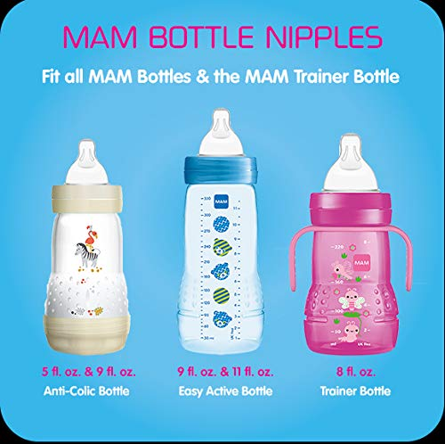 MAM Baby Bottle Nipples Clear 0 Months Extra Slow Flow Level 0 Nipple 2Count