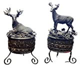 2 Pack Best Hunter Unique Hunting Bronze Moose Deer Statue Figurine Trinket Cuff Link Snuff Sundries Box Home Decor Great Graduation Him Dad Father Day Gift Idea Grandpa Men Guy Him from Daughter
