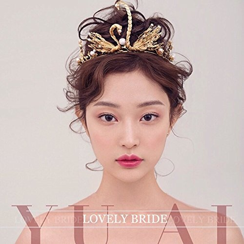 usongs The day bride Ling Tong white silk peacock crown bridal hair accessories handmade golden swan shape pearl headdress hair bands