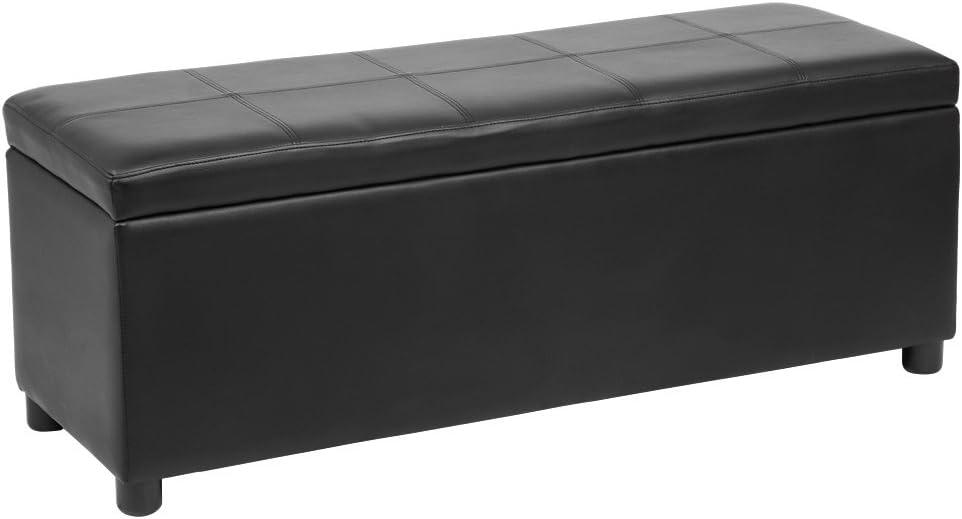 [corium] Banco otomano (119 x 38 x 45 cm)(negro) arcón - taburete para almacenaje - tapizado - banco dormitorio