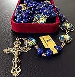 EleganantMedical - Collar con abalorio de lapislázuli envejecidas, hecho a mano, diseño de rosario católico, 5 décadas