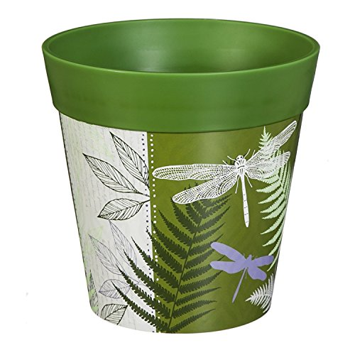 New Creative Green Dragonfly and Fern 8-inch Outdoor Safe HUM Flowerpot Planter by New Creative