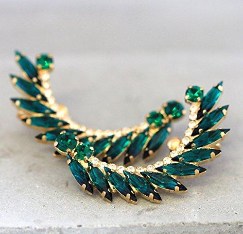 Bridal Green Emerald and Gold Ear Cuffs, Swarovski Crystal Climbing Earrings, Handmade Wedding (Beryl Designer Earrings)