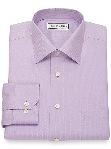 Paul Fredrick Men's Non-Iron Cotton Herringbone Dress Shirt Lavender 18.0/37