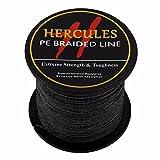 HERCULES 100m 109yds Black 6lbs-100lbs Pe Braided Fishing Line 4 Strands (50lb/22.7kg 0.37mm)