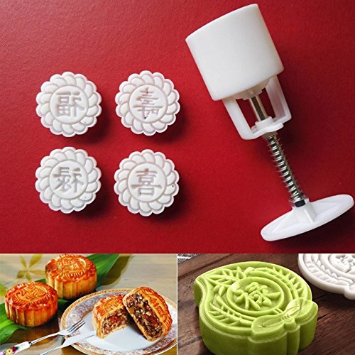 Moon Cake Mold-ViewHuge White 4 Flower Stamps 1 Barrel Moon Cake Mould Chinese Festival Mooncake Molds Set Hand Pressure Pastry Baking Tools Gadgets