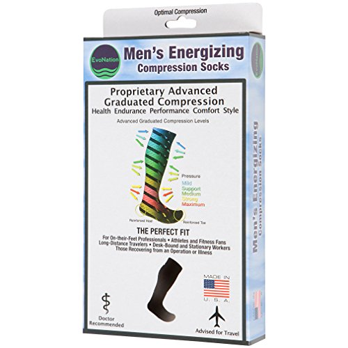 3 Pair EvoNation Men's USA Made Graduated Compression Socks 20-30 mmHg Firm Pressure Medical Quality Knee High Orthopedic Support Stockings Hose - Best Comfort Fit, Circulation, Travel (Large, Black) by EvoNation (Image #4)