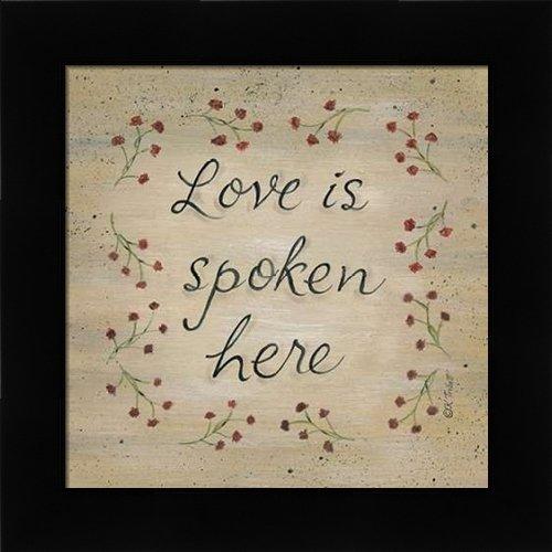 (Love is Spoken Here - Framed Art Print - 12x12 Fine Art Print by Tribbet, Karen in Studio Black Picture Frame - Inspirational Signs)