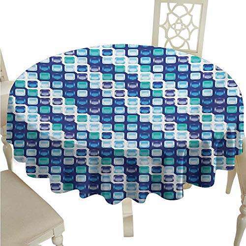 Round Tablecloth Plaid Blue,Retro Style Vintage Modern Design with Mosaics and Geometrical Squares,Pale Blue White Dark Blue Diameter D50,for 24 inch Table