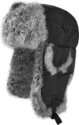 Fellmütze mit grauem Kaninchenfell und Steppfütterung Farbe Schwarz Größe M