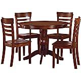 Homelegance Wayland 5-Piece Round Dining Set with Pedestal Base, Antique Oak