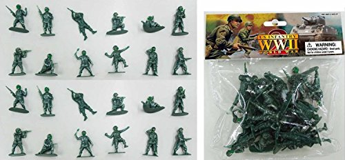 (WWII US Infantry Paratroopers 24 Piece Set Green Plastic Toy Soldier Figures 1/32 Scale 2.25