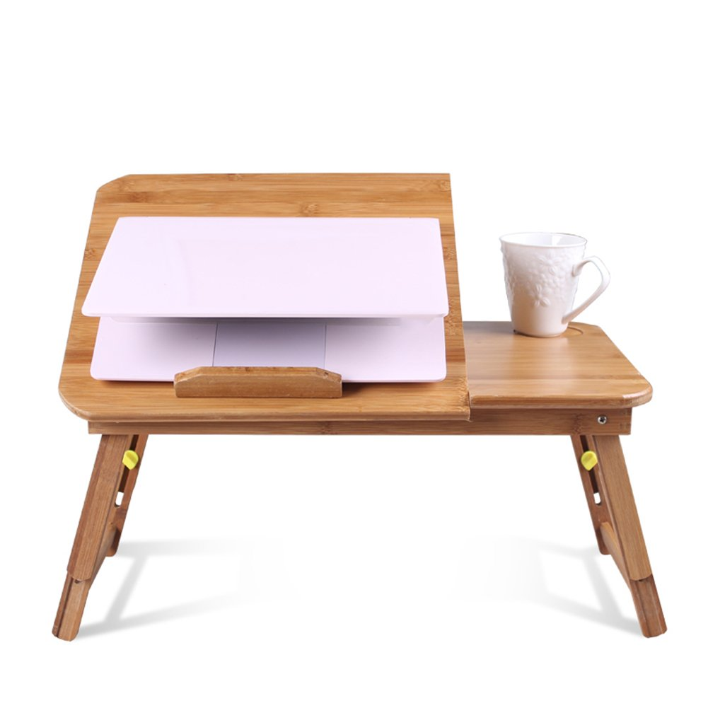 PENGFEI Portable Standing Desk Solid Wood Multifunction Collapsible Laptop Stand Reading Bookshelf Height Adjustable Mobile College Students Bamboo Wood Color, 2 Size (Color : Medium Normal)