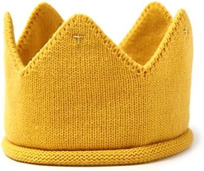 LUOEM Baby Krone Strickmütze Stoff Krone Stirnband Kopfschmuck für Geburtstag Party Karneval Fasching Hochzeit Dekor