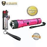 Flashlight Taser Pepper Spray Keychain Self Defense Kit (1) Police Flashlight Stun Gun (1) Hottest OC Pepper Spray .5oz Key Chain CS Tear Gas With UV Dye. Taser Colors: (PINK)