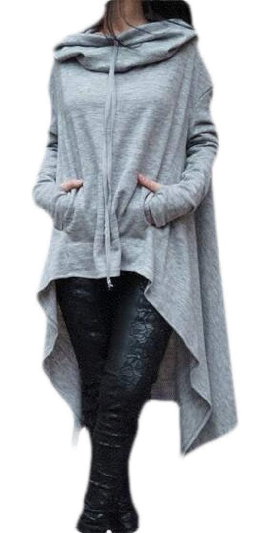 HTOOHTOOH Women Casual Soft Irregular Hem Hood Hooded Ladies Long Pullover