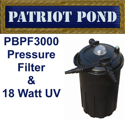 Patriot Bio Pro 3000 Pressure Filter with Built-In 18 Watt UV for Ponds to 3,000 (Bead Pressure Filter)