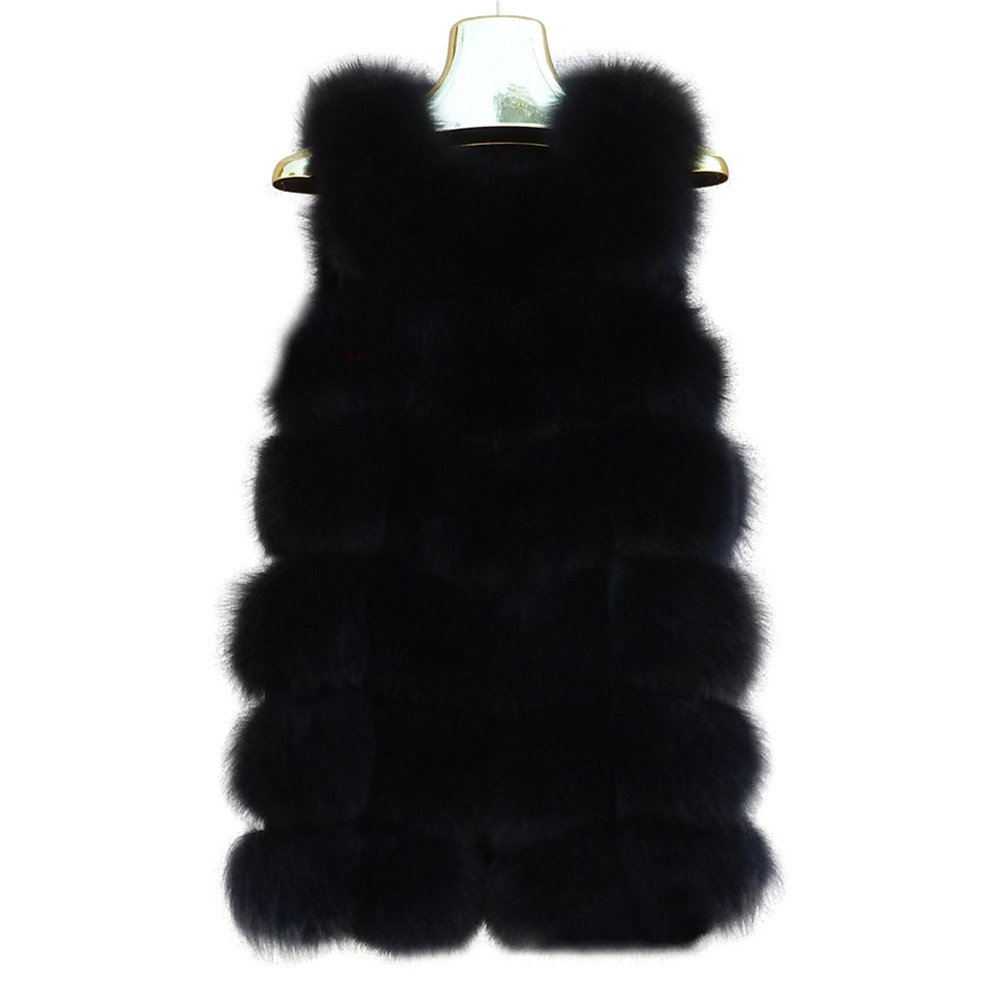 Manka Vesa Women's Real Fox Fur Vest Sleeveless Long Coat Fluffy Waistcoat Outwear Jacket Black