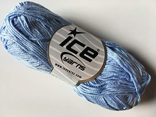 - Light Blue Cotton Bamboo Yarn - 50 Gram, 153 Yards, 2 Weight (Sport, Fine)