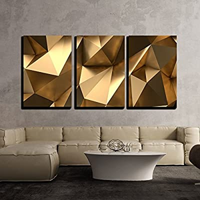 3 Piece Canvas Wall Art - Luxury Gold Abstract Polygonal Background 3D Rendering - Modern Home Art Stretched and Framed Ready to Hang - 16