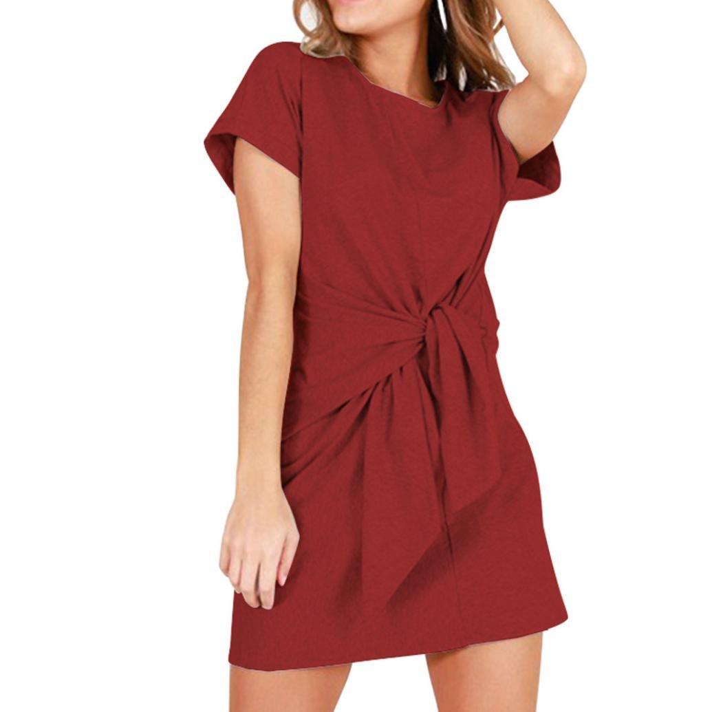 TiaQ Robe pour Femmes Chic Fashion Décontracté Manches Courtes Mini-Robe Bandage