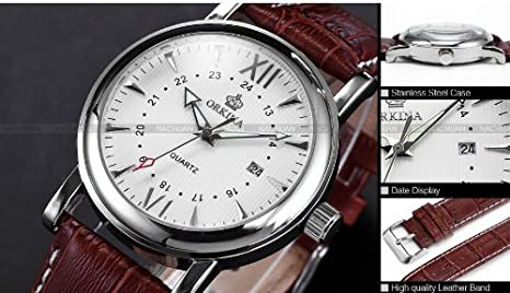 Amazon.com: Orkina Mens White Dial Coffee Leather Sport Date ...