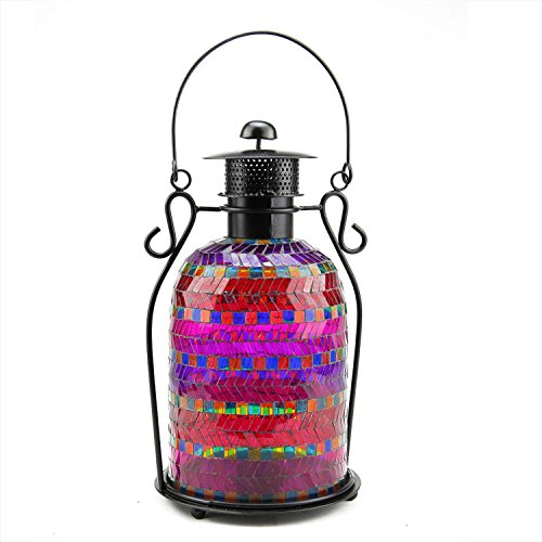 Northlight Decorative Mosaic Glass Tea Light Candle Holder Lantern, 13