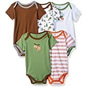 Luvable Friends Baby Infant 5 Pack Bodysuits, Green Moose, 6M(3-6 Months)