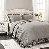 Lush Decor Reyna Comforter Ruffled 3 Piece Bedding Set with Pillow Shams, Full Queen, Gray