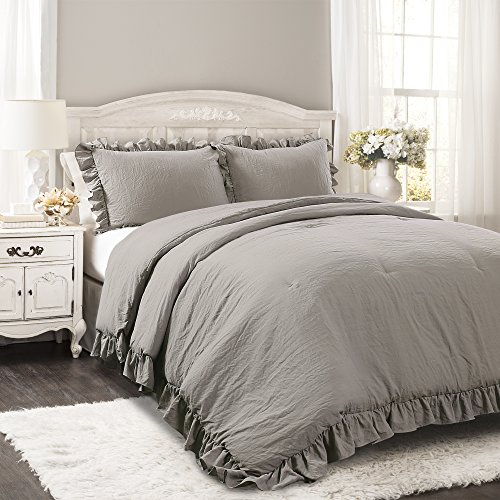 Lush Decor Reyna Comforter Ruffled 3 Piece Bedding Set with Pillow Shams, Full Queen, Gray (Bedding Set Ruffle)