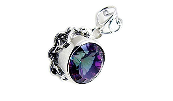 CaratYogi Multi Gemstone in Silver Necklace Round Cut Astrological Bezel-Style Handmade Charms For Gift