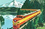 California - Southern Pacific Daylight Train Passing Mt Shasta (24x36 Giclee Gallery Print, Wall Decor Travel Poster)