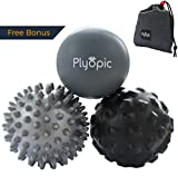 Plyopic Massage Ball Set - Includes Rubber, Spiky and Foam Roller Massager Balls | for Myofascial Release, Trigger Point Relief, Plantar Fasciitis Therapy. Deep Tissue Muscle Pain: Back Neck Foot etc