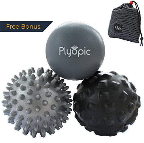 Plyopic Massage Ball Set - Includes Rubber, Spiky and Foam Roller Massager Balls | For Myofascial Release, Trigger Point Therapy and Plantar Fasciitis Relief. Eliminate Muscle Pain: Back Neck Foot (Accu Pressure Massager)