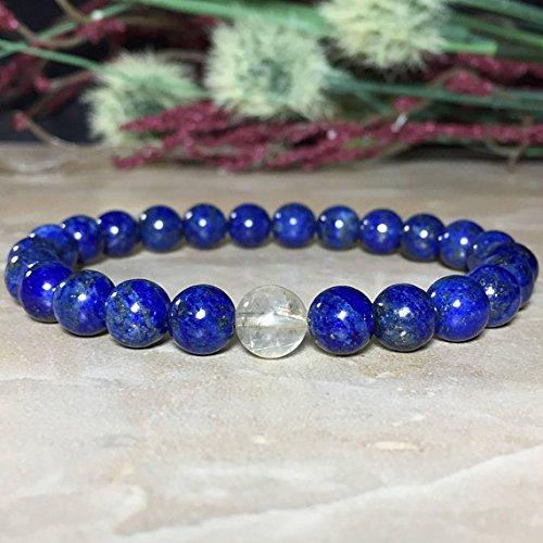 8mm Genuine Lapis Lazuli Bracelet (NO COLOR TREATMENT), Gold Rutilated Quartz Bracelet, Lapis Lazuli Bracelet, Protection, Inner power ()