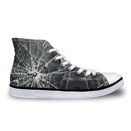 FOR U DESIGNS Black Canvas Hi-Top Sneaker with Ankle Strap Lace Up Shoes for Women US 11