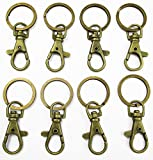 ALL in ONE Lobster Clasps Claw Swivel Trigger Clips Snap Hooks Bag Key Ring Hook Charms Findings (10pcs Antique Bronze)